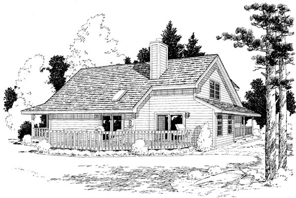 Country Farmhouse Southern Traditional Rear Elevation of Plan 10785