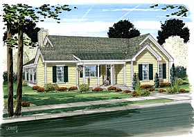 House Plan 10798 | Cottage, Country, Farmhouse Style House Plan with 1540 Sq Ft, 3 Bed, 2 Bath Elevation