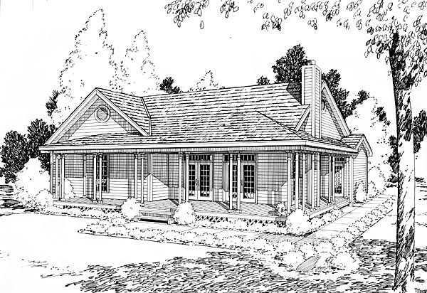House Plan 10798 | Cottage, Country, Farmhouse Style House Plan with 1540 Sq Ft, 3 Bed, 2 Bath Rear Elevation