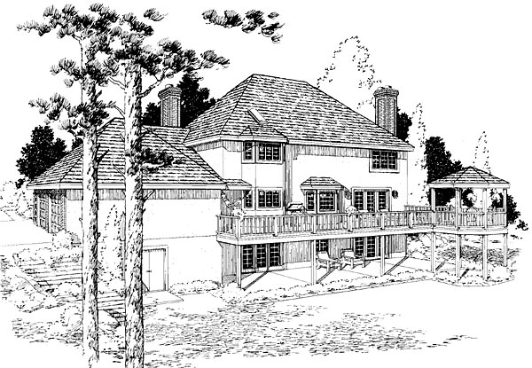 Colonial European Traditional House Plan 10802 Rear Elevation