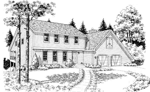 Colonial Saltbox House Plan 10829 Elevation