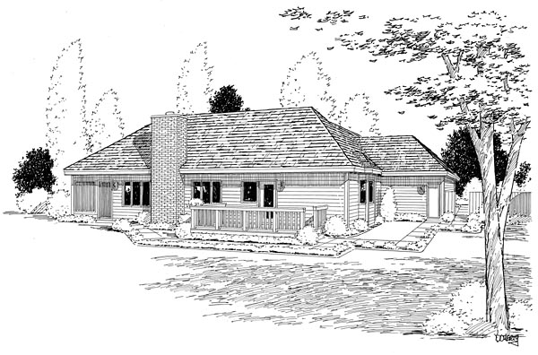 Country Ranch Southern Traditional Rear Elevation of Plan 10839