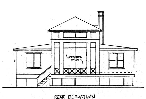 Bungalow Craftsman Prairie Style House Plan 19311 Rear Elevation