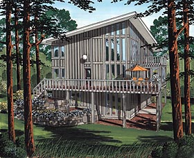 Cabin Contemporary House Plan 19707 Elevation