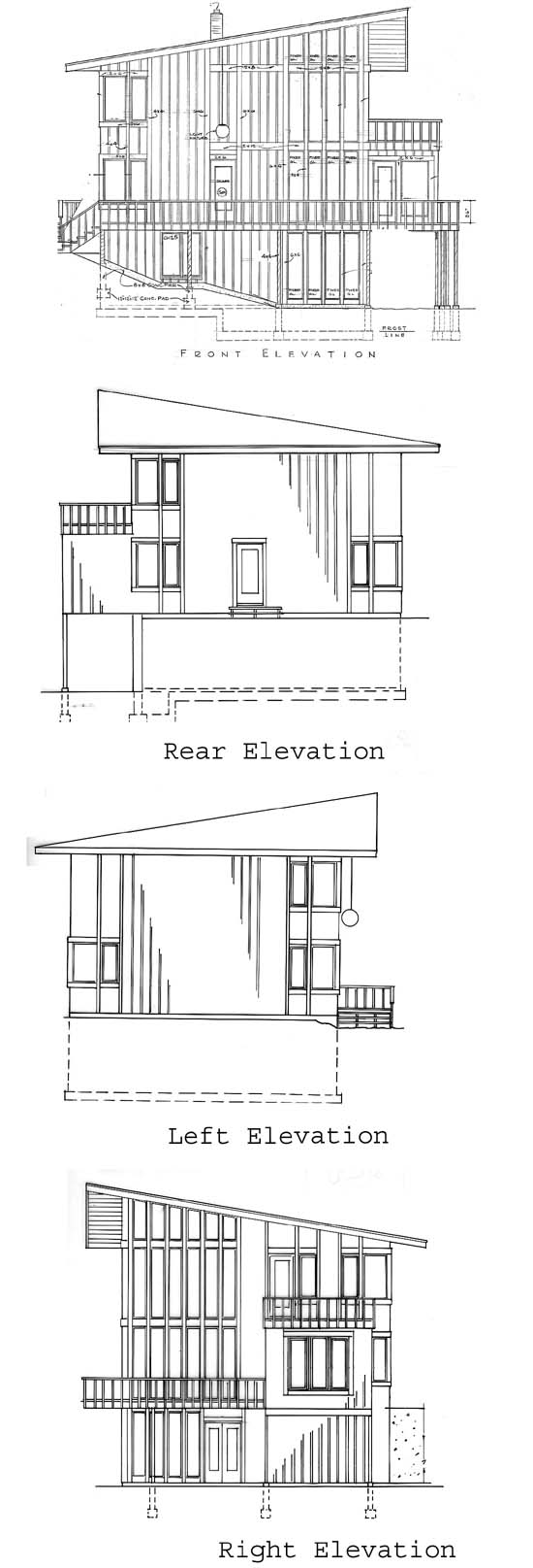 Cabin Contemporary House Plan 19707 Rear Elevation