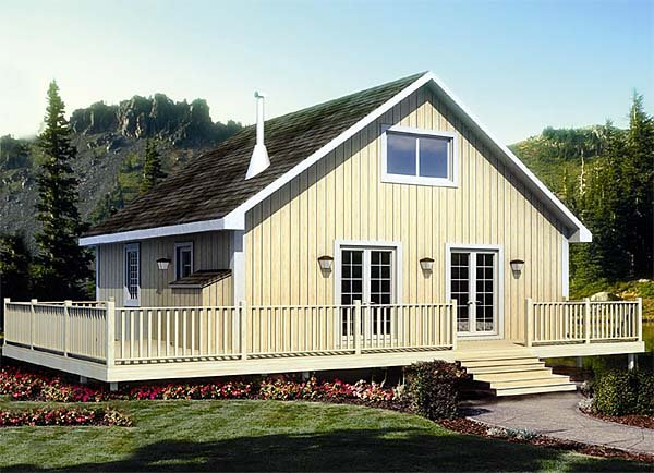 Cabin, Cottage House Plan 20000 with 2 Beds, 1 Baths Elevation