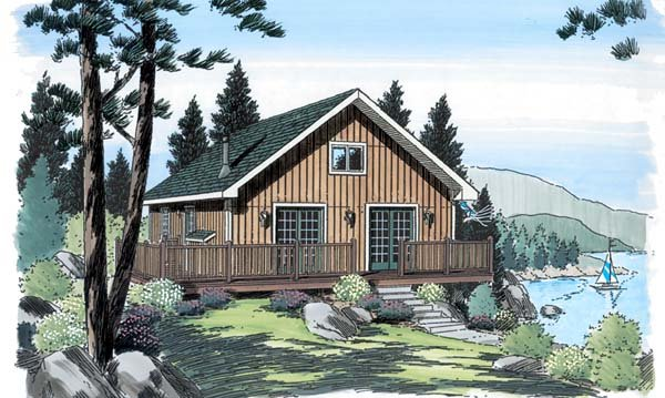 Cabin , Bungalow House Plan 20001 with 2 Beds, 1 Baths Elevation