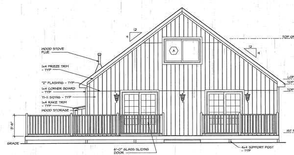 Cabin , Bungalow House Plan 20001 with 2 Beds, 1 Baths Rear Elevation