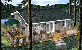 Traditional , Cabin House Plan 20003 with 3 Beds, 1 Baths Elevation
