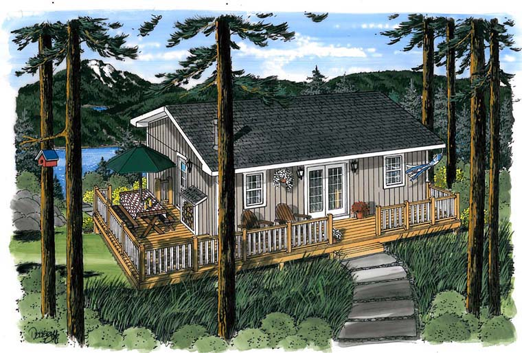 Cabin Traditional House Plan 20003 Elevation