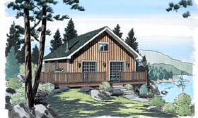 Cabin , Cottage , Traditional House Plan 20004 with 3 Beds, 1 Baths Elevation