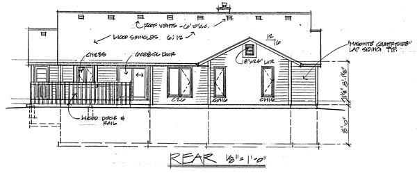Country Ranch Traditional House Plan 20054 Rear Elevation