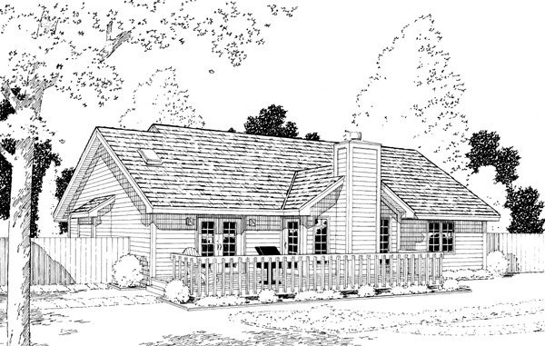 Traditional , Ranch , Country House Plan 20056 with 3 Beds, 2 Baths, 2 Car Garage Rear Elevation