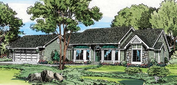 One-Story Ranch Traditional Elevation of Plan 20057