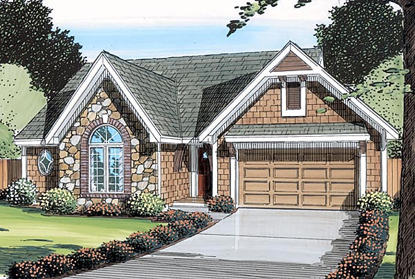 Bungalow , European , Ranch , Traditional House Plan 20061 with 3 Beds, 2 Baths, 2 Car Garage Elevation