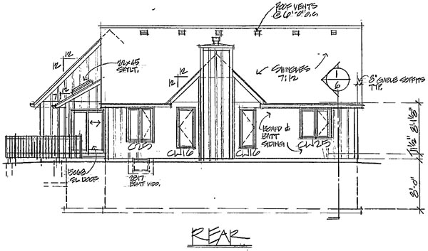 Bungalow , European , Ranch , Traditional House Plan 20061 with 3 Beds, 2 Baths, 2 Car Garage Rear Elevation
