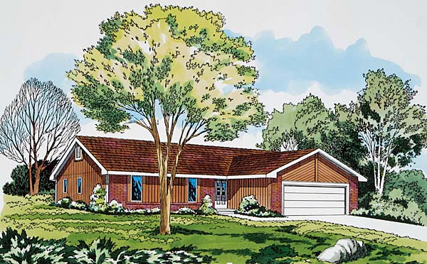 Ranch Retro Traditional House Plan 20062 Elevation
