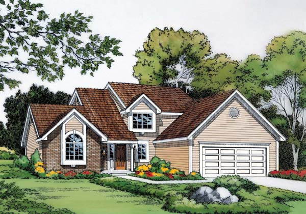 Traditional House Plan 20068 with 3 Beds, 3 Baths, 2 Car Garage Front Elevation