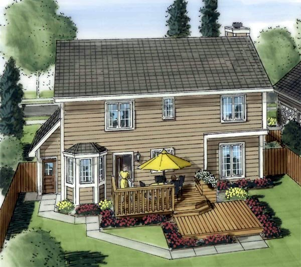 Country Traditional House Plan 20070 Rear Elevation