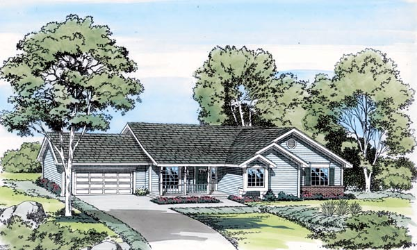 Country Ranch Traditional House Plan 20075 Elevation