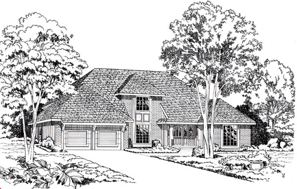 European, Traditional House Plan 20080 with 3 Beds, 3 Baths, 2 Car Garage Front Elevation