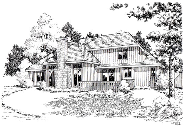 European, Traditional House Plan 20080 with 3 Beds, 3 Baths, 2 Car Garage Rear Elevation