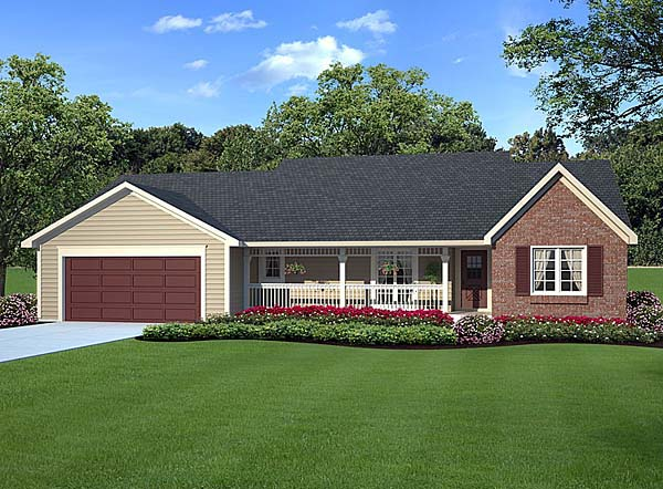 Country, One-Story, Ranch, Traditional House Plan 20083 with 3 Beds, 2 Baths, 2 Car Garage Elevation