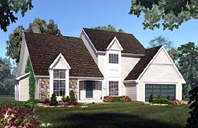 House Plan 20090 | European Traditional Style Plan with 2851 Sq Ft, 4 Bedrooms, 3 Bathrooms, 2 Car Garage Elevation