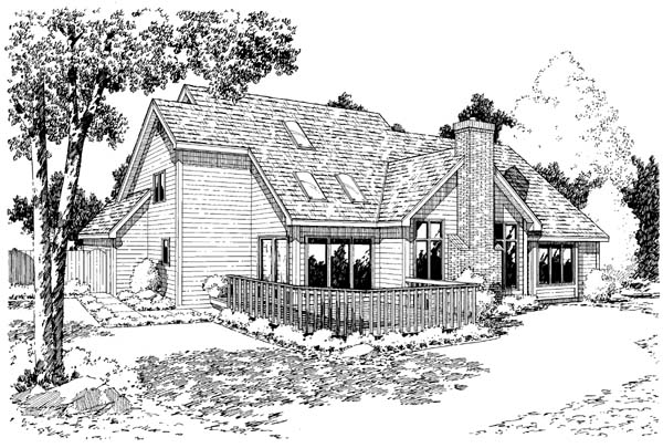 European Traditional House Plan 20090 Rear Elevation