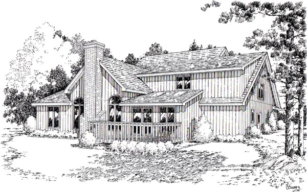 House Plan 20094 | European Traditional Style Plan with 3035 Sq Ft, 4 Bedrooms, 4 Bathrooms, 2 Car Garage Rear Elevation