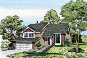 House Plan 20102 | Contemporary Traditional Style Plan with 2052 Sq Ft, 4 Bedrooms, 3 Bathrooms, 2 Car Garage Elevation
