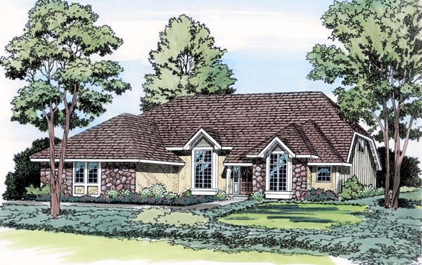 European Traditional House Plan 20105 Elevation