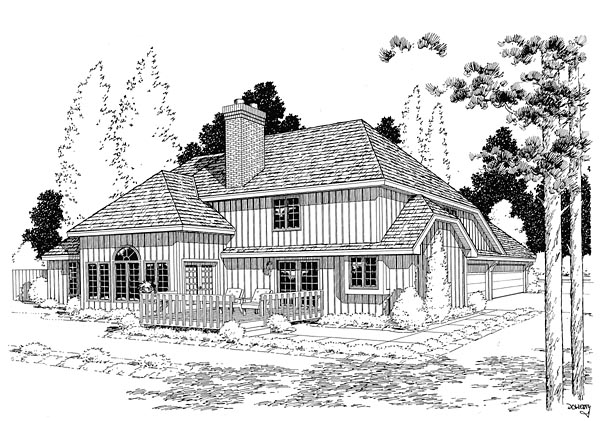 European Traditional House Plan 20105 Rear Elevation