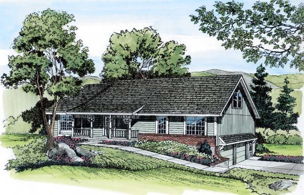 Country, Traditional House Plan 20111 with 4 Beds, 3 Baths, 2 Car Garage Front Elevation