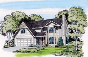 Traditional , Retro , Contemporary House Plan 20128 with 3 Beds, 3 Baths, 2 Car Garage Elevation
