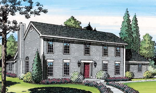 Colonial, Saltbox House Plan 20136 with 3 Beds , 3 Baths , 2 Car Garage Elevation