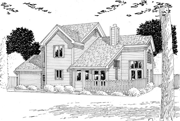 Country Farmhouse Traditional Rear Elevation of Plan 20144