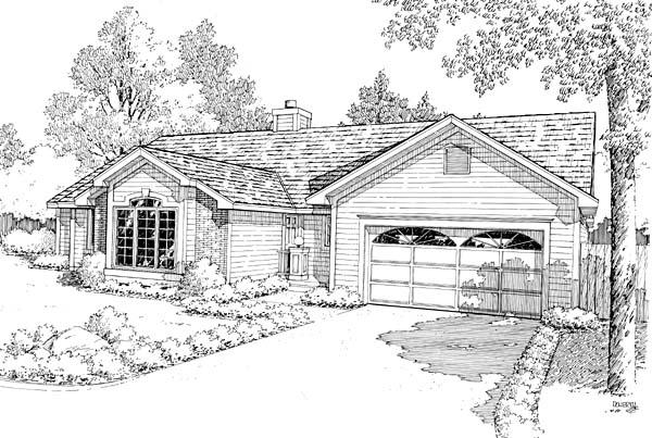 One-Story Ranch Traditional Elevation of Plan 20145