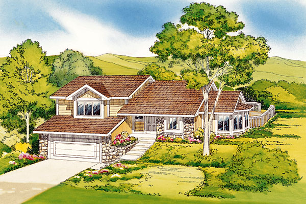 Contemporary Ranch Retro Traditional House Plan 20148 Elevation