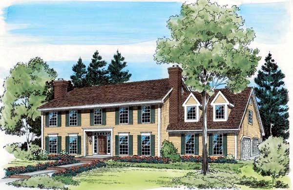 Colonial House Plan 20149 Elevation