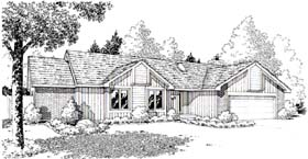 Traditional , Retro , Ranch House Plan 20150 with 3 Beds, 2 Baths, 2 Car Garage Elevation