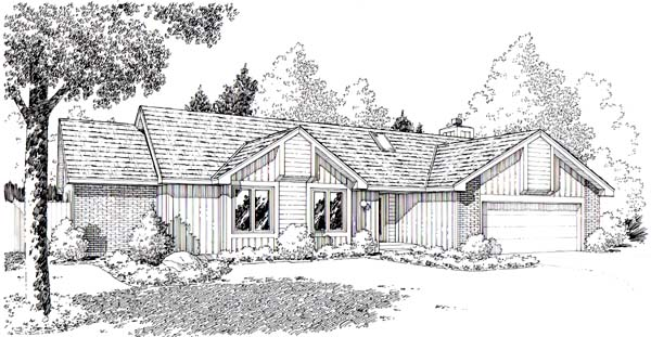 Ranch , Retro , Traditional House Plan 20150 with 3 Beds, 2 Baths, 2 Car Garage Elevation