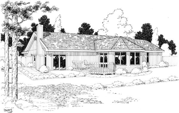 Ranch Retro Traditional House Plan 20150 Rear Elevation