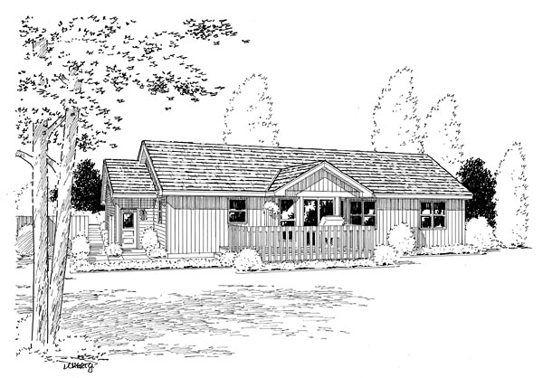 Ranch , Traditional House Plan 20156 with 3 Beds, 2 Baths, 2 Car Garage Rear Elevation