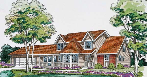 Country, Traditional House Plan 20158 with 3 Beds, 3 Baths, 2 Car Garage Elevation