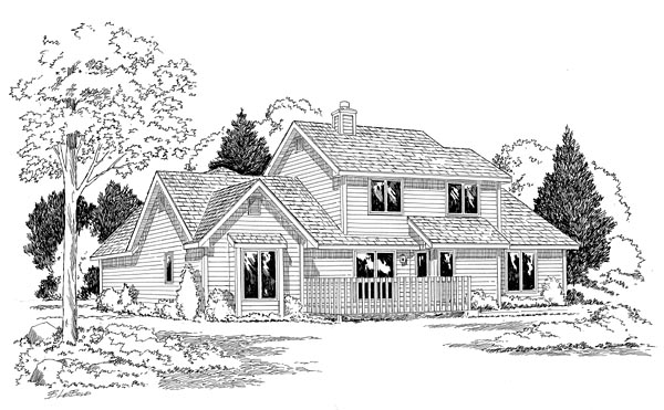 House Plan 20160 | Country Traditional Style Plan with 2157 Sq Ft, 3 Bedrooms, 3 Bathrooms, 2 Car Garage Rear Elevation