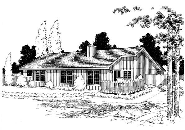 Ranch Traditional House Plan 20164 Rear Elevation
