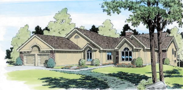 One-Story, Traditional House Plan 20166 with 4 Beds, 4 Baths, 2 Car Garage Elevation