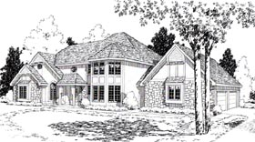 House Plan 20167 | European Tudor Style Plan with 3132 Sq Ft, 4 Bedrooms, 3 Bathrooms, 2 Car Garage Elevation