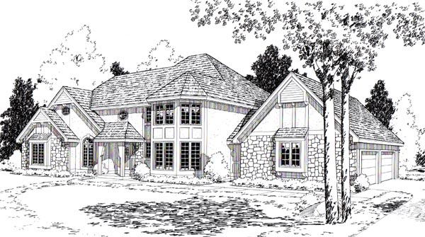 European Tudor House Plan 20167 Elevation